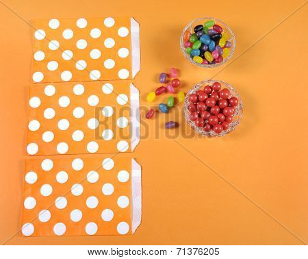 Preparing Happy Halloween Candy Trick Or Treat Bags