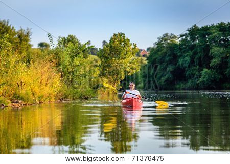 Kayaking on a lake
