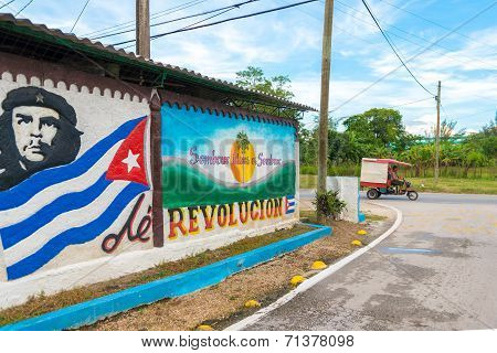 Che Guevara Propaganda Sign In Cuba