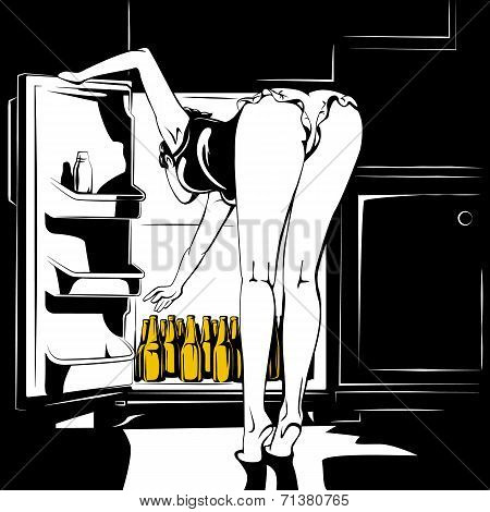 Vector illustration of young woman and beer.