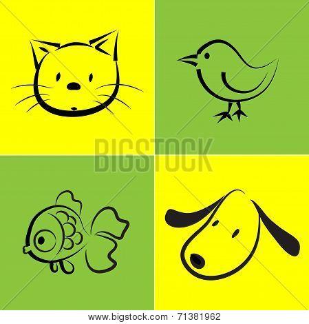 vector pet icon set