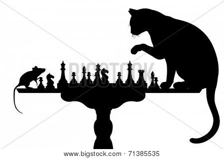 Illustrated silhouettes of a cat and mouse playing chess