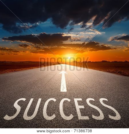 Empty Road And Sign Symbolizing Success