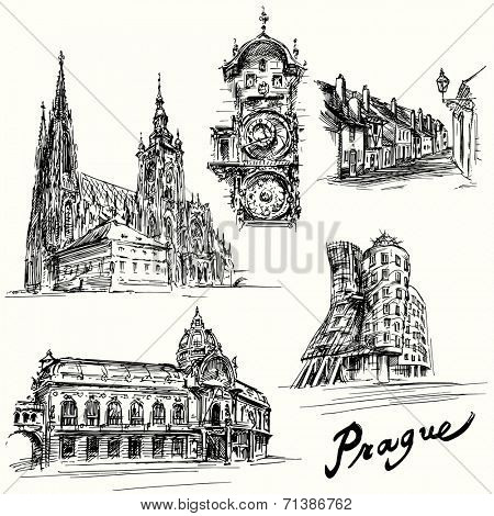 prague - hand drawn illustration
