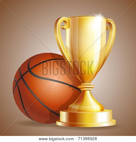 Golden trophy cup with a Basketball ball.