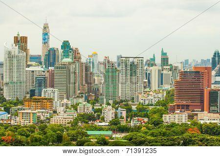 Bangkok skyline over Lumpini park