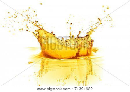 orange juice splash isolated on white background