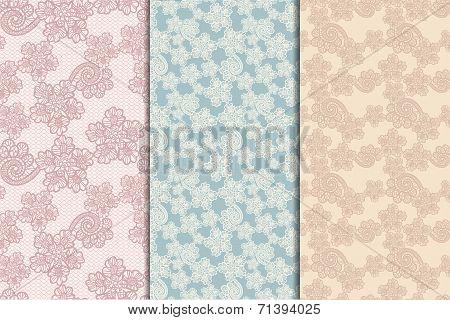 three lacy seamless patterns