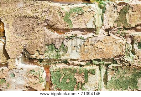 Old Obsolete Painted Brick Wall Closeup