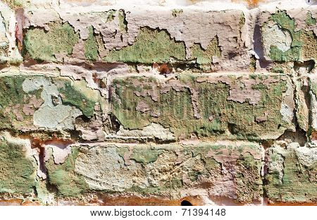Old Obsolete Painted Brick Wall