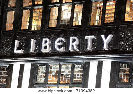Liberty department store at night