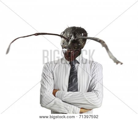 Businessman with a ant's head instead of his human head