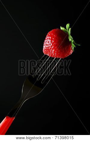 strawberry black background