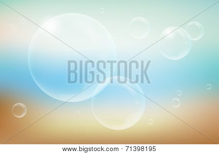Blurred Background And Transparent Bubbles