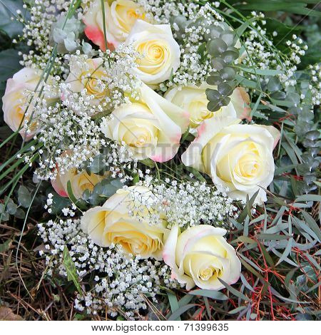 Mourning Bouquet Of White Roses And Gypsophila
