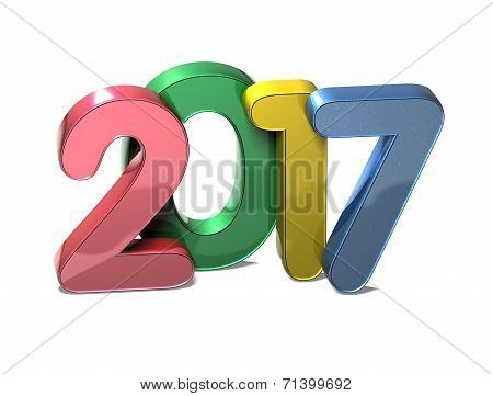 3D Year 2017 on white background