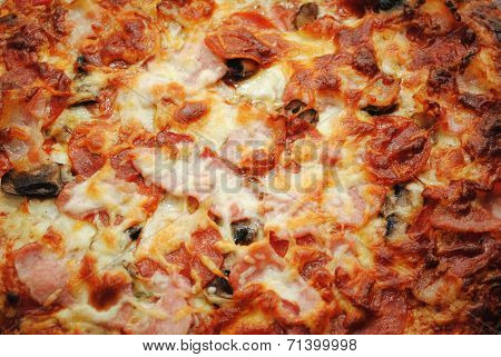 Background Of Browned Cheesy Meats Pizza Pie