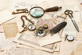 stock photo of nostalgic  - antique accessories old letters and maps vintage ink pen - JPG