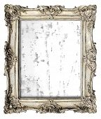 foto of canvas  - old silver frame with empty grunge canvas for your picture photo image - JPG