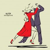 picture of tango  - art sketched tango dancers in vector - JPG