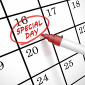 image of sabbatical  - special day words circle marked on a calendar by a red pen - JPG