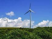 image of wind-power  - Wind power station in eastern cape of Yonaguni Island, western border island of Japan. It