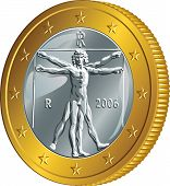 stock photo of leonardo da vinci  - Italian money gold coin euro with the image of Vitruvian Man by Leonardo da Vinci - JPG