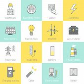image of solar battery  - Electricity flat line icons set with socket solar battery windmill vector illustration - JPG