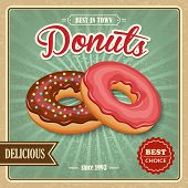 image of donut  - Tasty sugar glazed pastry delicious donut dessert on cafe paper poster vector illustration - JPG