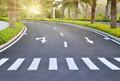 stock photo of zebra crossing  - Zebra way on the asphalt road surface - JPG