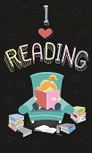 stock photo of bookworm  - the girl who loves reading is reading the book on the armchair - JPG