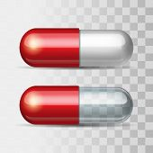 pic of paracetamol  - Red pills with white and transparent - JPG