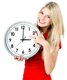 picture of time-saving  - young woman holding a clock - JPG