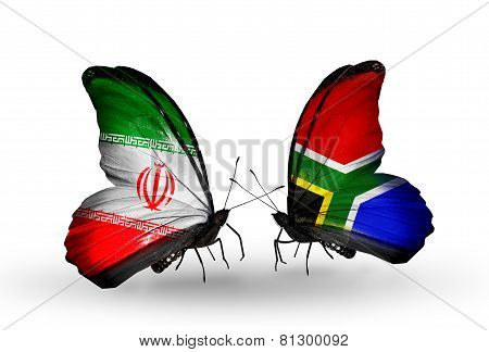 Two Butterflies With Flags On Wings As Symbol Of Relations Iran And South Africa