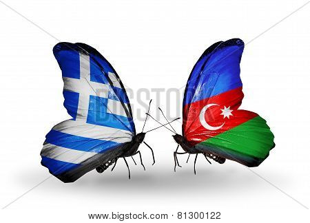 Two Butterflies With Flags On Wings As Symbol Of Relations Greece And Azerbaijan