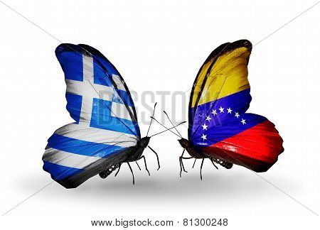 Two Butterflies With Flags On Wings As Symbol Of Relations Greece And Venezuela