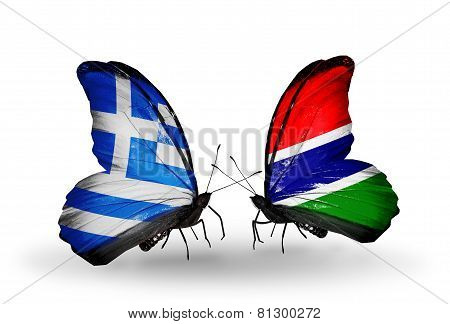 Two Butterflies With Flags On Wings As Symbol Of Relations Greece And Gambia