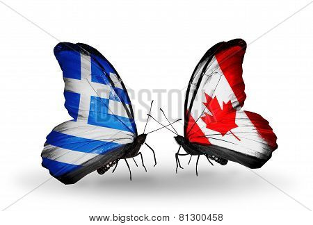 Two Butterflies With Flags On Wings As Symbol Of Relations Greece And Canada