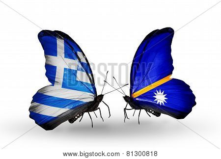 Two Butterflies With Flags On Wings As Symbol Of Relations Greece And Nauru