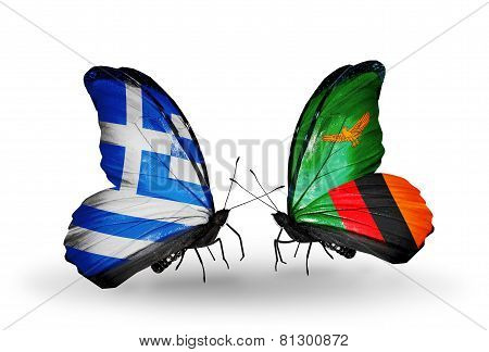 Two Butterflies With Flags On Wings As Symbol Of Relations Greece And Zambia