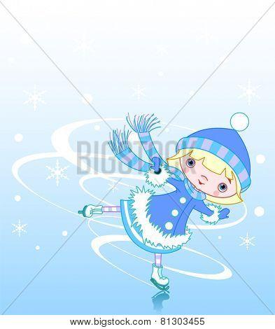 Cute little girl ice skater