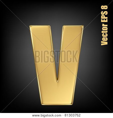 Vector letter v from gold solid alphabet. Lovercase golden font collection. EPS 8