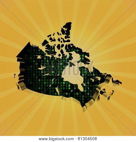 Canada sunburst map with hex code illustration