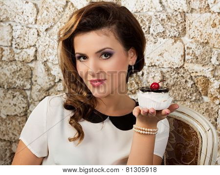 Beautiful Woman With A Cake