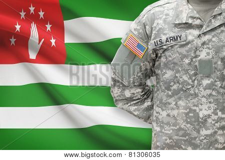 American Soldier With Flag On Background - Abkhazia