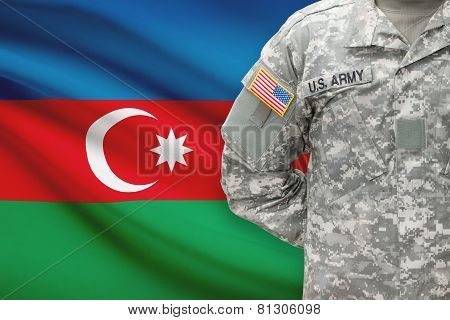American Soldier With Flag On Background - Azerbaijan