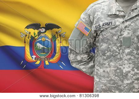 American Soldier With Flag On Background - Ecuador