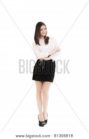 Young Woman In Office Attire On White Background