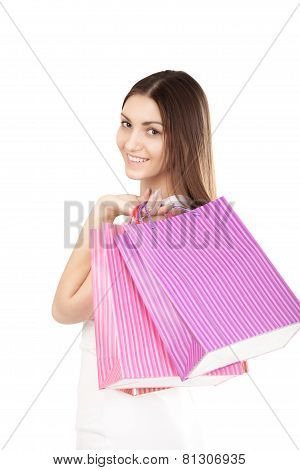 Beautiful Girl With Colorful Shopping Bags