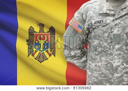 American Soldier With Flag On Background - Moldova